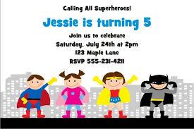 Personalized Superhero Birthday Invitations Superhero Birthday Invitation 5 Personalized Party Invites