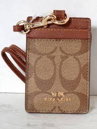 and coach leather lanyard card id case f63274 imbdx khaki saddle