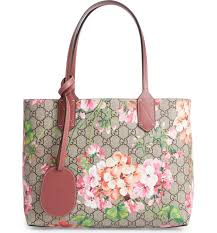 gucci tote. main image - gucci small gg blooms reversible canvas \u0026 leather tote