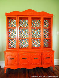 retro orange china cabinet with hand painted backboard bright painted furniture