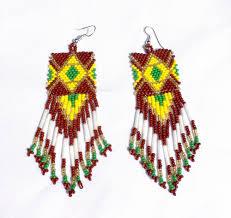 brown yellow handmade beaded big chandelier earrings