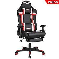 comfortable gaming chair. Simple Gaming Cyrola Large Size Real PU Leather High Back Comfortable Gaming Chair With  Footrest PC Racing And R