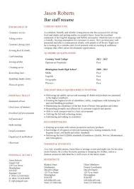 Bar Work Cv Example - Kleo.beachfix.co