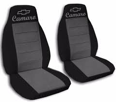 fits 2010 to 2016 chevrolet camaro black and charcoal seat covers a