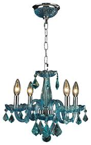Clarion 4 Light Chandelier, Coral Blue And Chrome