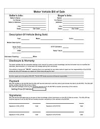 Motor Vehicle Bill Of Sale Template As Well As Bill Sale Form Nj