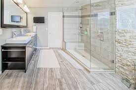 beautiful master bathrooms. Beautiful Master Bathroom With Frameless Shower And Wood Grain Floor Tile Bathrooms