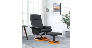 Swivel <b>TV Armchair with</b> Foot Stool Black Faux Leather - Kogan.com