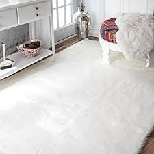 beautiful faux fur area rug in com nuloom 200bibl15a 406 ivory 4 x 6 kitchen