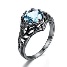 new crystal ocean blue stone ethnic rings created aquamarine black gold color women enement party ring