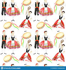 Seamless Pattern Dancers In Red National Costume An Italian Tarantella With  A Tambourine On White Background. Woman And Stock Illustration -  Illustration of dress, costume: 158380303