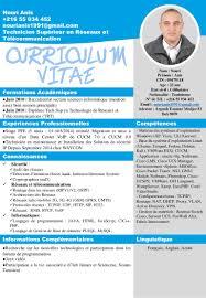 Curriculum Vitae Pour Technicien Superieur En R Seaux Et T L Communic