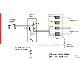 click here for a wiring diagram shoptalkforums com headlight dimmer relay circuit 67 thru 70