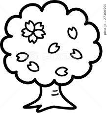 桜木 満開 花 白黒塗り絵のイラスト素材 27360590 Pixta