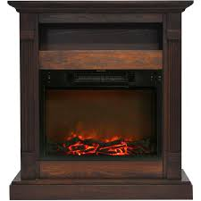sienna 34 in electric fireplace with 1500 watt log insert and walnut mantel