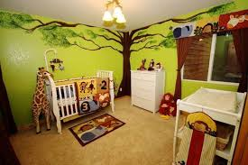 jungle themed furniture. Simple Jungle Jungle Themed Baby Nursery With White Furniture And Wall Murals  Creating  A On