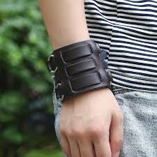 2019 men biker bracelet punk rock 6 8cm wide leather handmade bracelets wristband three belt alloy black red cow leather jewelry from ravishing