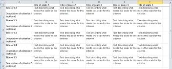Rubric Template Microsoft Word How To Create A Rubric Via Excel Template Staff