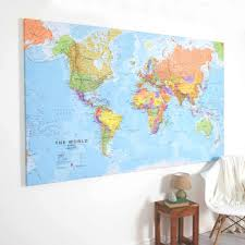large canvas print rustic world map wall art map within pertaining to most recently released large