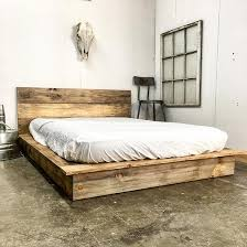 modern platform bed. Rustic Modern Platform Bed Frame And Headboard - Loft Style Solid Wood Made In USA
