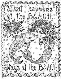 Small Picture Mermaid and Dolphin What Happens at the Beach Instant Download