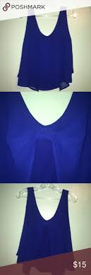 Royal Blue Sheer Blouse with Back Bow