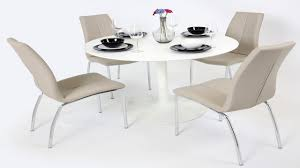 white gloss dining table and  mink grey chairs  homegenies