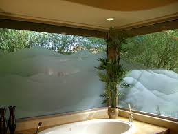 etched glass windows frosted glass western style landscape mountains shaded sans soucie
