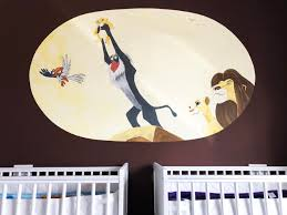 feature wall art mural simba twin nursery