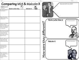 Mlk Vs Malcolm X Venn Diagram Graphic Organizer Readings Comparing Mlk Malcolm X