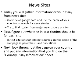 country essay gathering information day three ppt  4 news sites today you will gather information for your essay