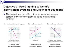 objective 3 use graphing to identify inconsistent systems and dependent equations