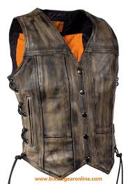 women s motorcycle riders distressed brown soft leather vest w side laces new start elivehelp btncode
