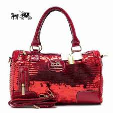Coach Poppy East West In SequIn Signature Large Red Satchels Outlet Sale  VIP Shop