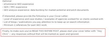 seo lancing lessons i ve learned after hours tracked  cover letter anti spam