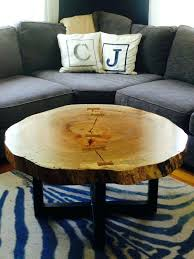 live edge round tree log coffee table and end tables