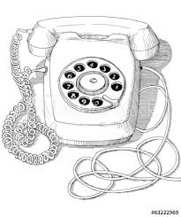 Vintage rotary disc telephone drawing ink isolated on white back Stock  Illustration | Adobe Stock
