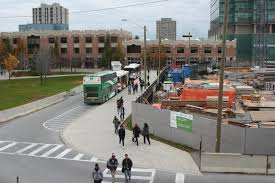 york university. the middle lane in harry w. arthur commons, constructed as a detour for buses. image by nathan christie. york university