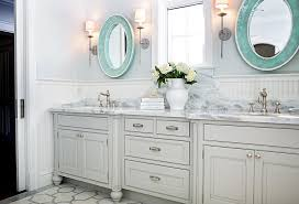 double vanity mirror inside gray with oval turquoise mirrors transitional bathroom design 9