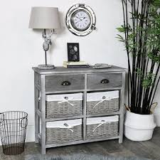 two drawer and four wicker basket drawers chest vintage grey range