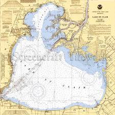 Lake Michigan Nautical Chart Michigan Lake St Clair Nautical Chart Decor