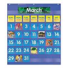 Carson Dellosa Deluxe Scheduling Pocket Chart Scholastic Monthly Calendar Pocket Chart 25 5x10x0 13 Blue Clear Shs511479