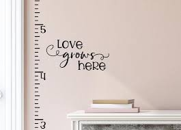 Growth Chart Decal Growth Chart Vinyl Decal Growth Chart Ruler Growth Chart Wall Decal Love Grows Here Growth Chart Sticker