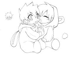 Emo Girl Coloring Pages Pin Drawn Black And White 4 Anime Couple For