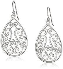 summer main section sterling silver filigree teardrop earrings 60300