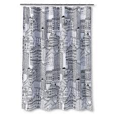 city sketch shower curtain black opaque room essentials