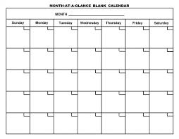 Month At A Glance Calendar Template Empty Calendar Template Printable Calendar Blank Calendar Blank