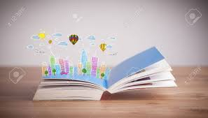 colorful cityscape drawing on open book stock photo 31588501