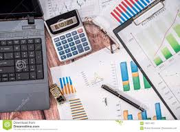 Laptop Computer With Data Charts Stock Image Image Of