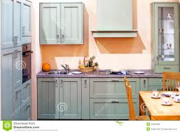 Rustic Country Kitchens Country Style Cyan Kitchen Stock Photo Image 33808220
